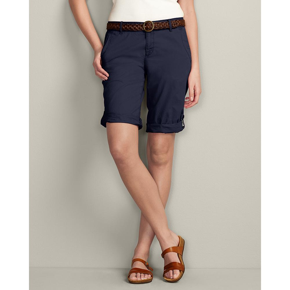 "Eddie Bauer Textured Cotton Weekend Roll Shorts - Solid - Build your entire casual summer wardrobe around our comfortable, relaxed-fitting Weekend Roll Shorts. The lightweight textured cotton has a peached finish for softness, which is further enhanced by a special prewash. The mini-herringbone fabric is pigment-dyed to create unique highs and lows of color that weather beautifully. Also available in Plaid, and in 7"" and Bermuda versions. - $14.99"