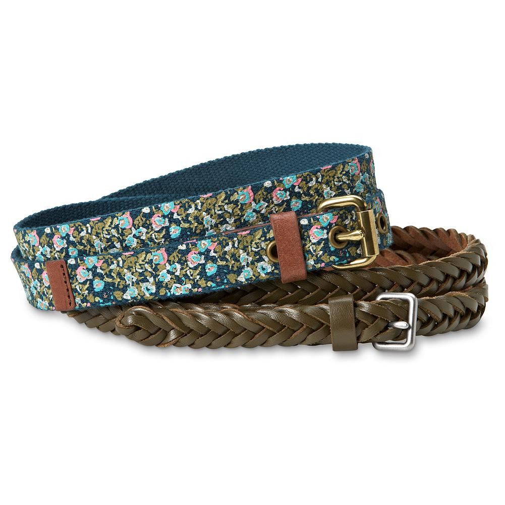 Eddie Bauer Pair of Skinny Belts - Versatile, complementary belts: one in braided faux leather; the other in printed cotton web with a mini-floral motif. Imported. - $4.99