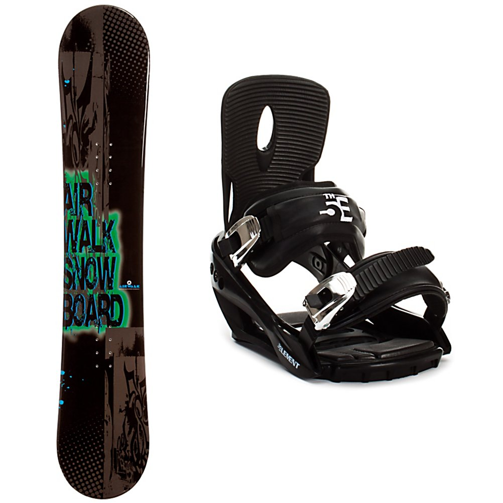 Snowboard Airwalk Airwalk Logo Black Snowboard and Binding Package - The Airwalk Logo Black Snowboard Package is a great board and binding combo for the entry-level or beginner rider who wants to get a good taste of life on the mountain. The Airwalk Logo Black Snowboard is the perfect beginner board to help you progress. The cap construction makes getting the snowboard on edge much easier and allows for easier turning. The Camber profile gives you more control and helps make easier toe-side and heel-side turns. Camber also provides amazing edge hold on icy and all weather conditions. This will help you advance quicker and feel more confident to take on new challenges. This package also includes the 5th Element Stealth 2 bindings. The Stealth 2 binding is soft flexing so it is forgiving making it ideal for a learner. The base has a padding that provides dampening to help absorb some of the shock. The cushy ankle straps conform to your boots while remaining comfortable so you can concentrate on the shred. New to this model, a completely redesigned toe strap can be set above the toe or as a toe cap and the webbing on the toe strap allows it to conform to any boot's toe box when worn as a cap style. The highback hugs the back of your boot for supportive feel. The Airwalk Logo Black Snowboard Package boasts plenty of performance to help any beginner learn the basics quickly and boost their skill level. . Snowboard Best Use: All-Mountain, Snowboard Rocker Profile: Camber, Package Type: Board and Bindings, Skill Range: Beginner - Advanced Intermediat - $179.93