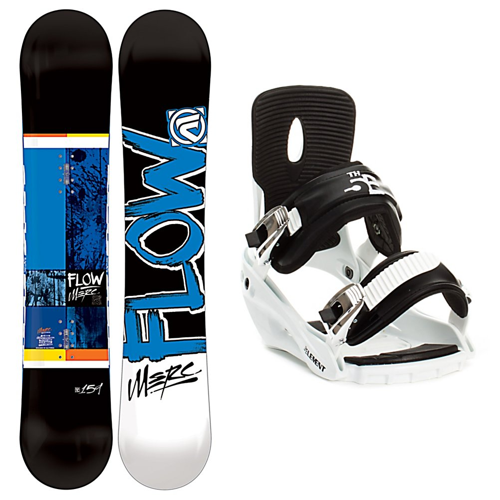 Snowboard Flow Merc Snowboard and Binding Package - The Flow Merc Snowboard Package is designed for the advanced-beginner to intermediate level rider who wants some features on their board to help them take on any terrain they come across. The Flow Merc Snowboard has a slightly convex base for more forgiving turns and a super mellow EZ-Rock slight reverse camber in between your feet for super easy turning while still giving you a nice, poppy flex. The Flow EZDT sidecut helps any rider progress easier. The 5th Element Stealth Bindings are a soft flexing binding which is forgiving enough to accommodate any inexperienced rider. A thick but soft flexing ankle strap provides the support and response needed to progress and padding underfoot dampens vibration and eliminates shock. Simple, smooth gliding ratchets make for easy entry and exit while tool-less adjustments allow you to customize this binding to any boot on the fly. Built to get the job done, the all-mountain Flow Merc Snowboard Package will be your new best friend when you hit the mountains. . Skill Level: Beginner, Gender: Mens, Package Type: Board and Bindings, Snowboard Rocker Profile: Rocker with Camber, Recommended Use: All-Mountain, Product ID: 311213, Model Year: 2013, Skill Range: Beginner - Advanced Intermediate - $269.99