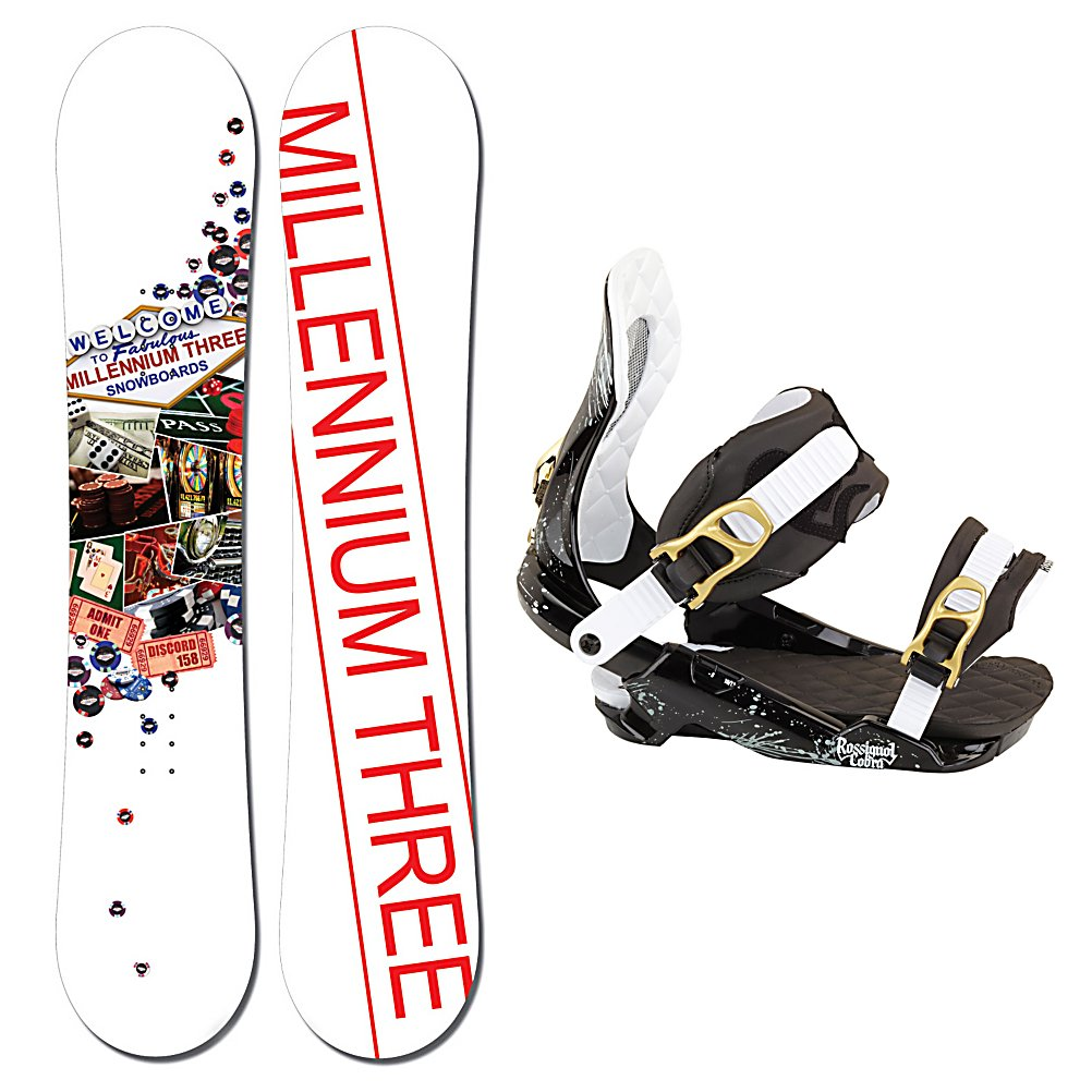 Snowboard Millenium 3 Discord Snowboard and Binding Package - This Millennium 3 Discord Snowboard Package has plenty to keep you riding strong in the park and built with a board and boot to help you progress. The Millenium 3 Discord Snowboard is a great board for beginners. You're going to have to build your skills and get to the next level with confidence and this board will help give you the progression you want. This forgiving board with a soft flex has all you need to bring out your skills for all-mountain riding. Featuring a wood core, this board is lightweight and has all you need to get yourself past the bumps of learning to ride. You'll have the Rossignol Cobra V1 with this board which has a HCX-18 Baseplate is the ultimate combination of shock absorption and responsiveness. Magnebed 2.5 is a slight inward tilt naturally returns your feet and legs to their original alignment, relieving the stress of a wider stance and increasing the nose and tail pressure when loading up your board for an ollie. The fun and lightweight M3 Discord Snowboard Package is your ticket to a shred-tastic mountain adventure. . Recommended Use: Freestyle, Snowboard Rocker Profile: Camber, Package Type: Board and Bindings, Skill Range: Beginner - Advanced Intermediate, Product ID: 311052, Gender: Mens, Skill Level: Beginner - $229.99
