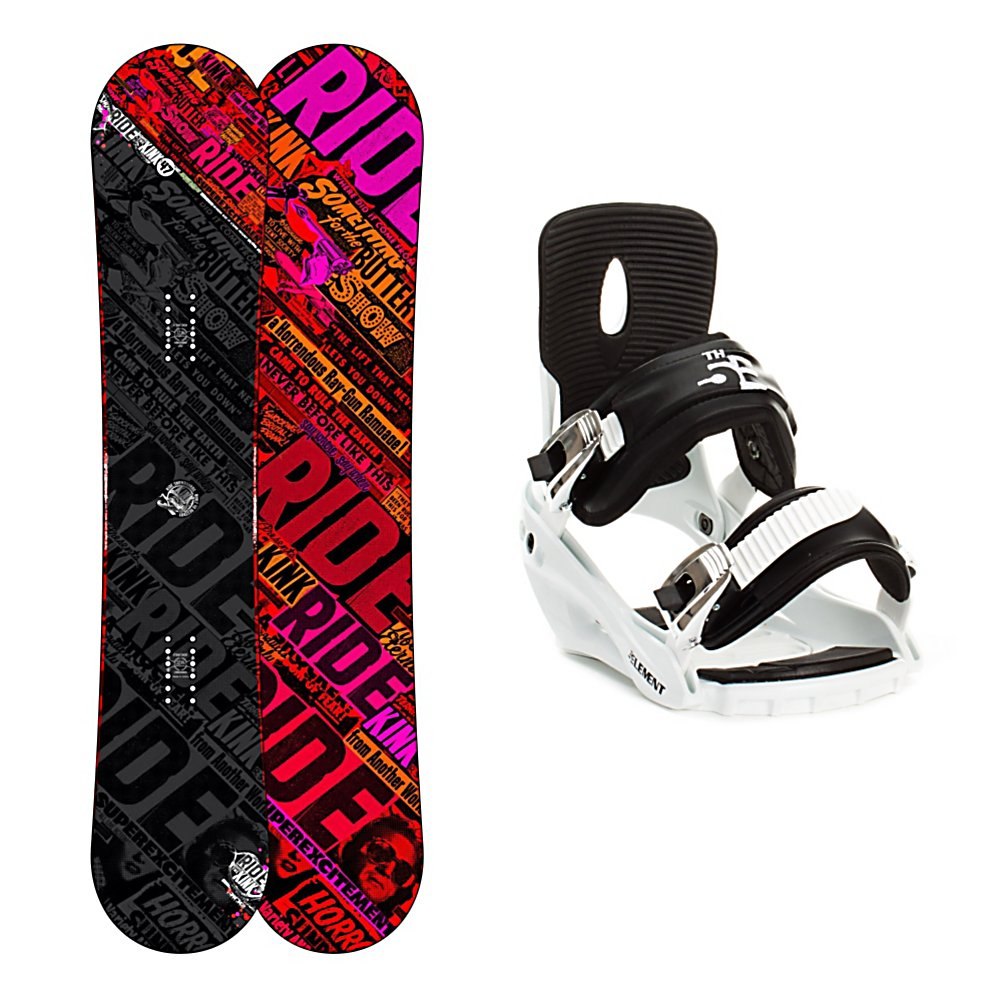 Snowboard Ride Kink Snowboard and Binding Package - If you want a true park board then you'll want to pick up this Ride Kink Snowboard Package. This board and binding combo is designed for the rider who wants to spend their days as a freestyle rider. The Ride Kink Snowboard is buttery smooth and has a low swing weight so you can boost your freestyle game. It can take a beating with the impact absorbing urethane Slimewalls and the beefy Cleave Edge 50 percent larger than an average edge and can be detuned more than your average edge. The 5th Element Stealth Bindings are a soft flexing binding which is forgiving enough to accommodate any inexperienced rider. A thick but soft flexing ankle strap provides the support and response needed to progress and padding underfoot dampens vibration and eliminates shock. Simple, smooth gliding ratchets make for easy entry and exit while tool-less adjustments allow you to customize this binding to any boot on the fly. For durability on a fun and forgiving ride, check out Ride's Kink Snowboard Package. . Recommended Use: Freestyle, Snowboard Rocker Profile: Rocker, Package Type: Board and Bindings, Skill Range: Intermediate - Advanced, Model Year: 2013, Product ID: 311231, Gender: Mens, Skill Level: Intermediate - $329.99