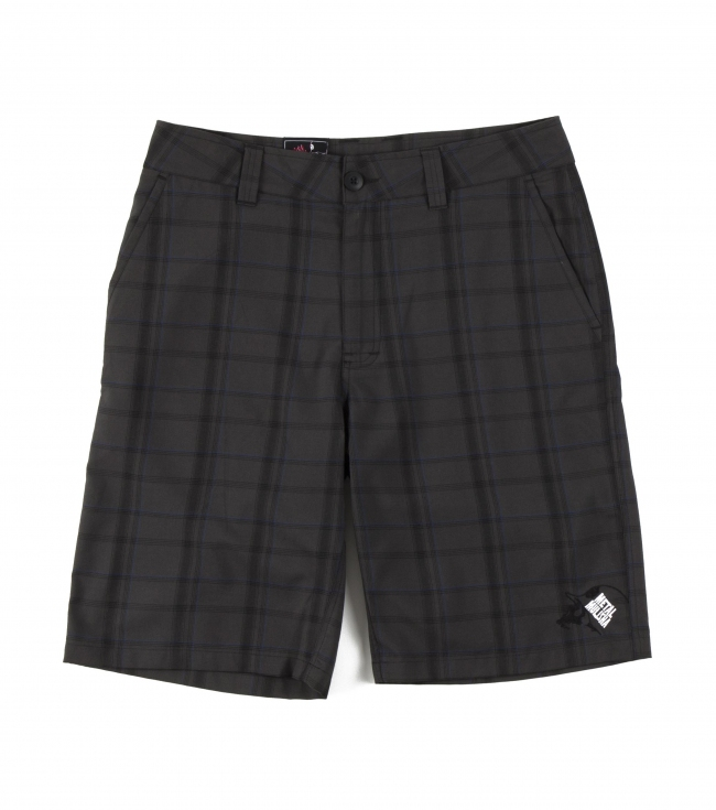 "Motorsports Metal Mulisha Mens shorts.  65% Poly / 35% Viscose.  Yarn dyed plaid; 23"" outseam chino fit walkshort; cellphone pocket; dual back patch pockets. - $38.99"