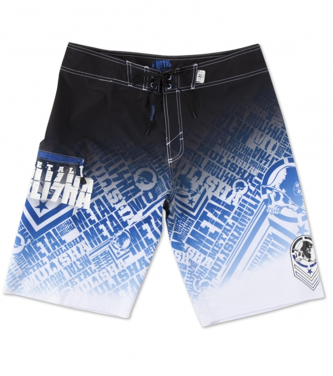 "Motorsports Metal Mulisha Mens Boardshorts.  93% Poly / 7% Elastane.  4-way stretch fabric; 23"" outseam with comfort fly closure; sublimation print; logo art; zip pocket with internal pocket bag; PVC rubber label at waistband; and drawcord. - $31.99"