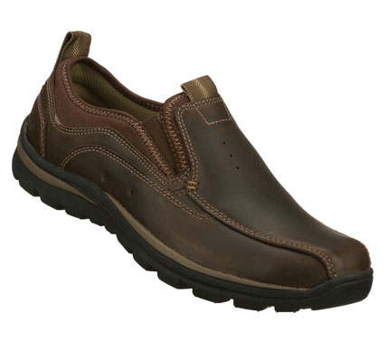 Entertainment Access versatile style and comfort instantly with the SKECHERS Relaxed Fit(R): Superior - Router shoe.  Smooth leather upper in a slip on dress casual loafer with stitching; overlay and perforation accents. - $75.00
