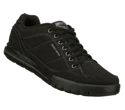 A classic sporty look with room to breathe comes in the SKECHERS Relaxed Fit: Arcade II - Suavity shoe.  Soft woven canvas fabric upper in a lace up sporty casual sneaker with stitching and overlay accents. - $60.00