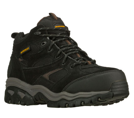 Entertainment Safe and secure style meets all-day comfort in the SKECHERS Work: Energy - Clan boot.  Waterproof treated suede; synthetic and fabric upper in a lace up composite toe mid high top work boot with stitching and overlay accents. - $87.00