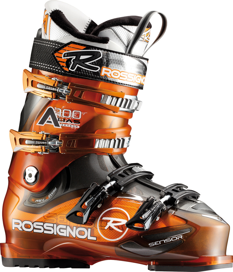Ski The Alias Sensor 100 has a wide 104mm fit with a medium-stiff 100 flex index which is ideal for expert frontside skiers with large wide feet. Finally a high performance boot that is available in a wide width with stiff flex. The Sensor Fit liner is a true lasted liner to address the common problem fit areas. The seamless one piece tongue and cushy cutout instep pocket eliminate pressure points across the tops of the toes and that pesky instep bone. The grippy rubber heel gives extra traction for walking around the resort. Strong expert all mountain skiers will find the performance they seek in the Alias Sensor 100. Be large and charge the entire mountain with comfort all day.Key Features of the Rossignol Alias Sensor 100 Ski Boots: Last 104 Flex index 100 Shell specification POLYETHER + SENSOR CONCEPT Bootboard PU Cuff specification POLYETHER Liner - technology SPORT THERMO FIT PLUS Liner - tongue ONE-PIECE TOE BOX Buckles - material 4 MICRO - 100% ALUMINIUM Buckles - micro DIAGONAL BUCKLES Buckles - teeth 4th: QUICKSET 3 POSITIONS 3rd: 3 POSITIONS Canting CANTING Spoiler REMOVABLE SPOILER Power strap 40mm Heating sole preset HEATING SOLE PRESET - $226.95