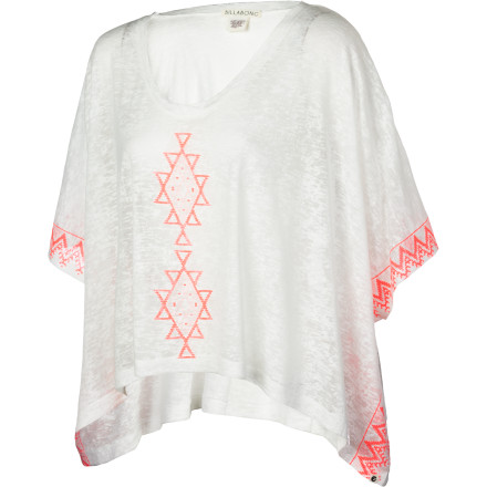 Surf A lightweight and easy-breezy top with a sweet snap of color, the Billabong Women's Border Line Poncho Shirt feels like a dream and exudes a carefree beach-going style. Made from durable and easy-wear cotton and polyester, this top goes anywhere your heart desires with a cheery pop and casual cool. - $43.95