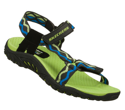 Surf Colorful sporty style combines with wonderful comfort in the SKECHERS Reggae - Bright Idea sandal.  Smooth durable web fabric upper in a strappy sporty river style comfort casual sandal with stitching accents and adjustable straps. - $45.00