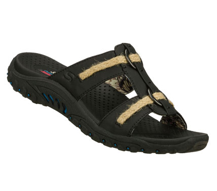 Surf Relax and enjoy the warm temps with the SKECHERS Reggae - Lion Zion sandal.  Smooth faux leather upper in a two strap slide casual comfort sandal with stitching and overlay accents. - $50.00