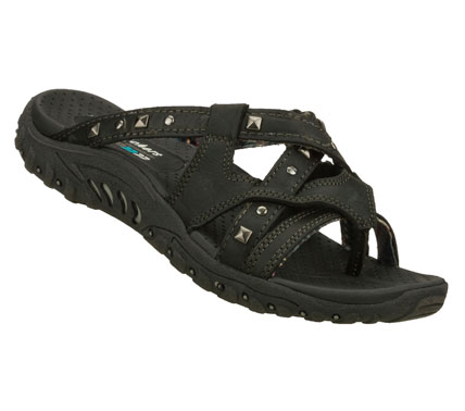 Surf Turn up the volume on comfort and style with SKECHERS Reggae - Rockin Soundstage sandal.  Smooth oiled leather upper in a strappy comfort casual thong sandal with stitching and metal stud detailing. - $41.25