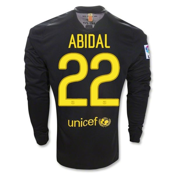 Entertainment Youth ABIDAL Barcelona Away Long Sleeve Soccer Jersey 2011/2012
