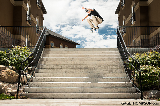Skateboard Tanner Simpson with a huge ollie down this beasty 12 stair in American Fork, Utah.