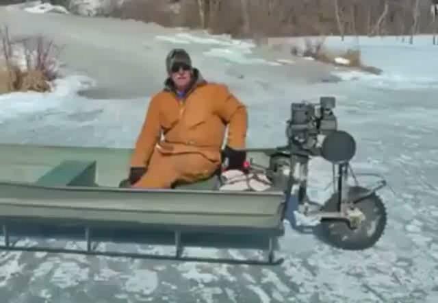 как сделать из лодки снегоход