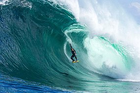 Surf Australian Surfer Ryan Hipwood 'flies' during an airborne drop at Shipstern Bluff