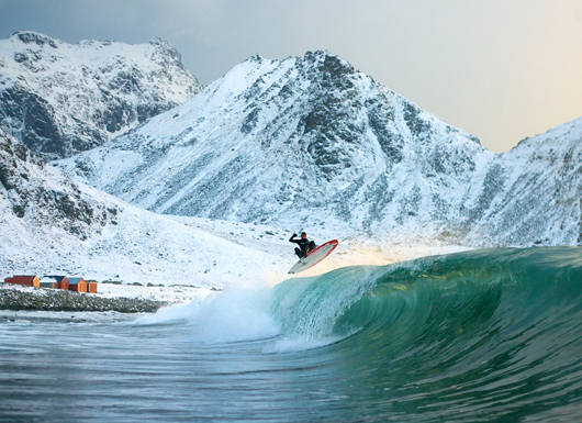 Surf huge winter waves off Norway's Lofoten Islands