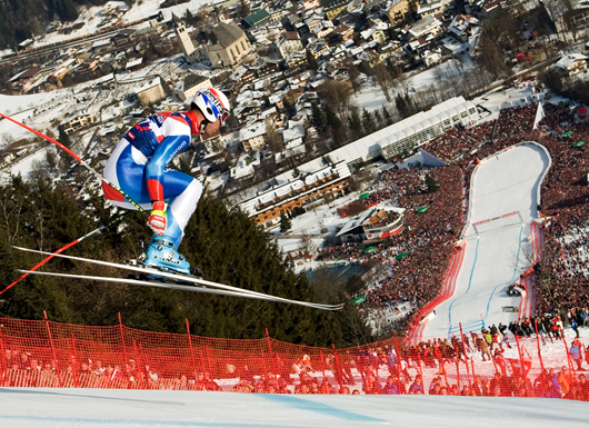 Ski Racers go up to 87 mph at the Hahnenkamm Downhill Race in Austria
