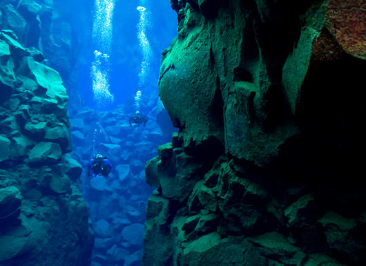 Scuba Diving glacial meltwater, some of the clearest at 300 feet visibility, in iceland