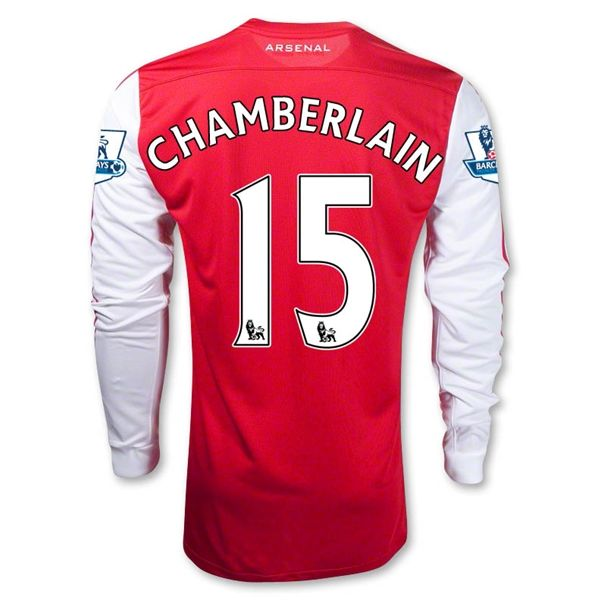 Entertainment Youth CHAMBERLAIN Arsenal Home Long Sleeve Soccer Jersey 2011/2012