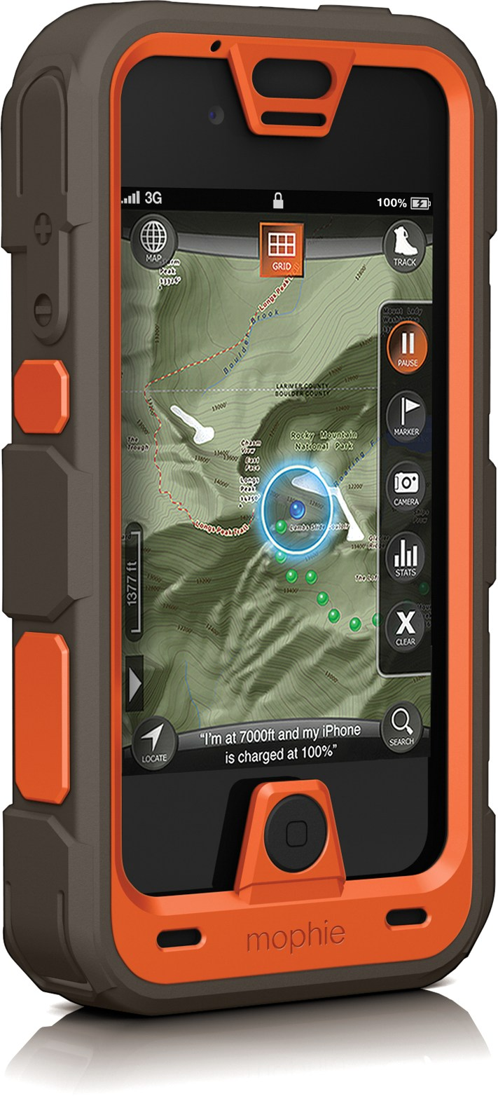 Camp and Hike Mophie Juice Pack PRO Rechargeable Battery pack with Outdoor Edition Case - iPhone 4/4s