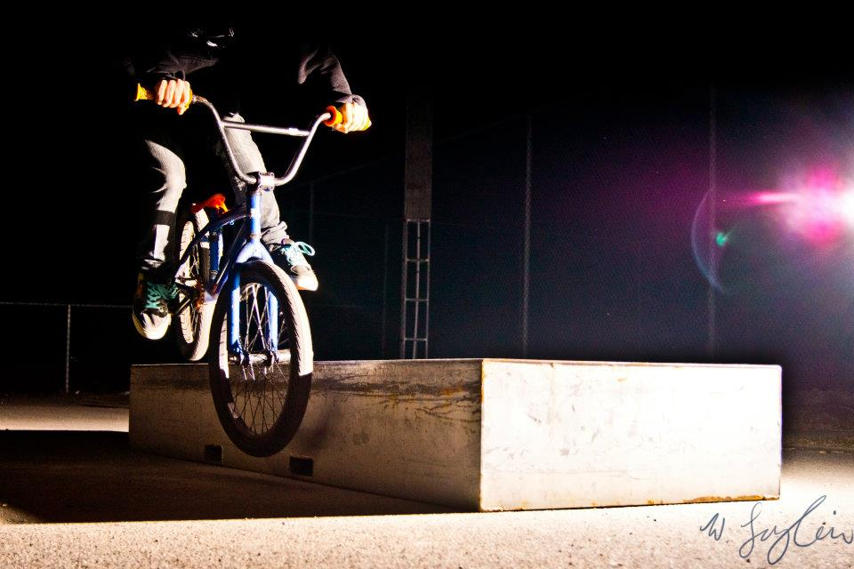 BMX BMX late after sunset with a single flash