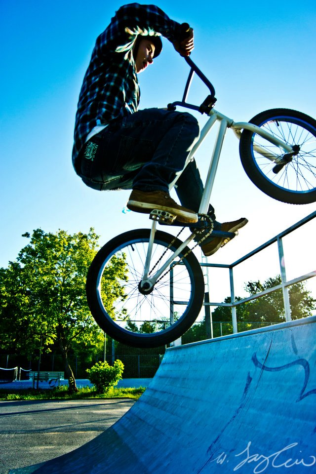 BMX BMX on the quarter pipe just before sun set