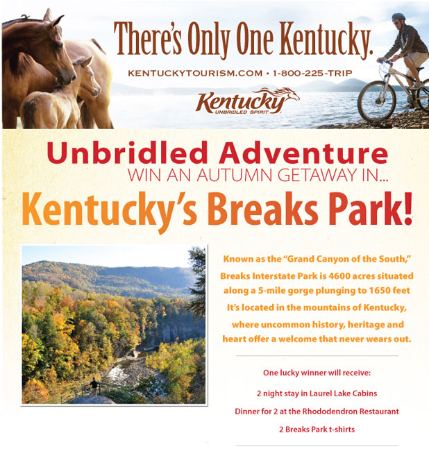 Camp and Hike Win lodging, dinner, and more in the Kentucky's Breaks Park Autumn Getaway Giveaway!