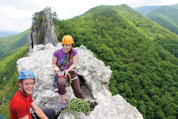 Climbing A rookie rock climber gets schooled at Seneca Rocks.