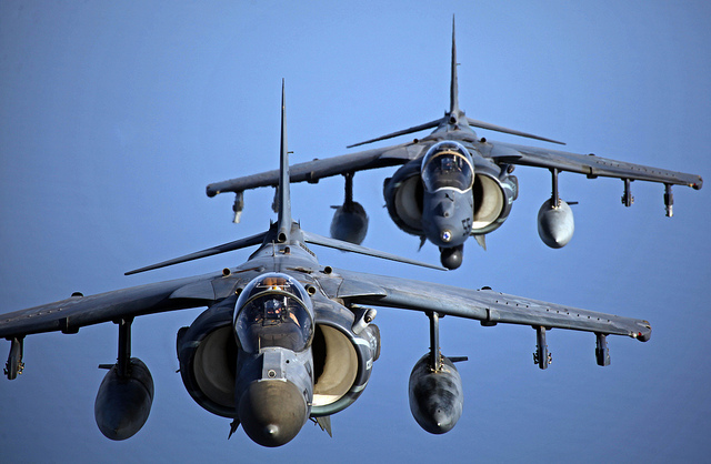 Guns and Military Two AV-8B Harrier aircraft
