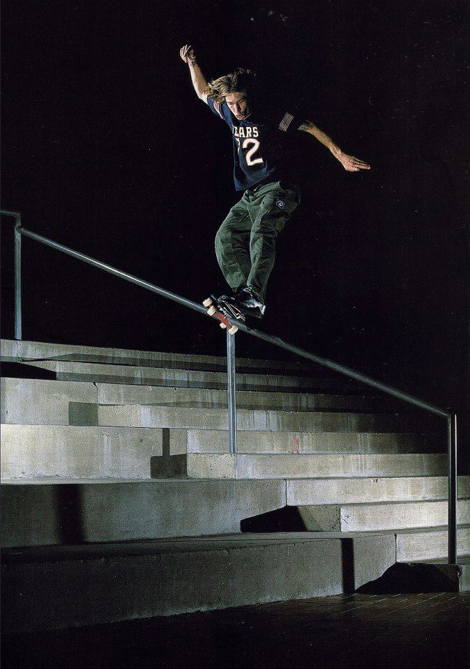 Skateboard Hall of Fame nominee Jamie Thomas with a front feeble grind, circa 1998...vote for Jamie at www.XHall.org