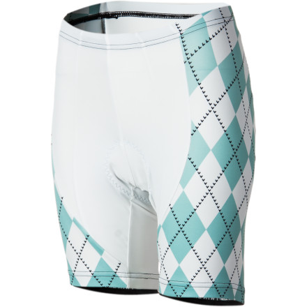 Fitness Complement your Twin Six Argyle Jersey with the Women's Argyle Shorts. For comfort, Twin Six uses an eight-ounce Micro Denier Knit Poly/Lycra blend that moves moisture away from your skin to the surface of the fabric, where it quickly evaporates. The fabric also breathes well, allowing your body to regulate its temperature naturally. Twin Six also uses an eight-panel design, optimized for the riding position, to give the Argyle Shorts a natural feel. The result is a precisely fitting bottom that moves with you, not against you, while also preventing the onslaught of fatigue. Twin Six's soft, women-specific chamois is used to dampen and cushions for long-ride comfort. With its perforated construction, the chamois ensures adequate air flow, which will evaporate moisture and keep you dry. To finish the shorts, Twin Six added wide elastic leg grippers that prevent migration while pedaling. Twin Six Women's Argyle Shorts are available in four sizes from X-Small to Large. - $89.95