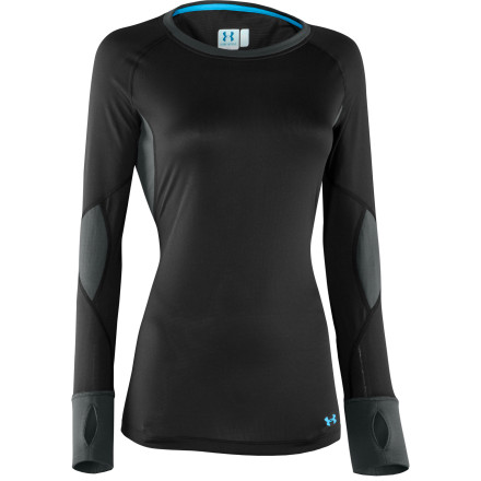 Fitness The Under Armour Women's Basemap 1.5 Crew Top changes your entire perspective on activewear. This smart top features strategically placed mid- and lightweight fabric to give you cozy warmth throughout your body and ventilation under the arms to prevent overheating. Four-way stretch gives you full range of motion when you're charging down the slopes or getting twisty in the park. Flatlock ergonomic seams won't chafe skin, and odor-fighting ArmourBlock technology lets you take off your jacket without scaring everyone away with your funk. - $45.47
