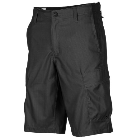 Surf Can't decide between going skateboarding or sitting around the pool today' Do both without having to come home to change when you wear the Volcom Volcommando Cargo Men's Hybrid Short. It has the look of a chino short, but is made with a two-way stretch polyester fabric that has plenty of flexibility for moving around, and dries quickly after you get out of the water so you can waste no time moving on to your next activity. - $64.95
