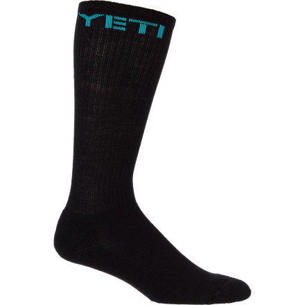 MTB Yeti designed the DH Sock to stand up to abuse, odor, and the fashion police. The merino/nylon blend fights odor naturally and can handle whole seasons of downhill beatings without ever showing signs of giving in. The casual design is also perfectly at home in the classroom, at the office, or in the Emergency Room. Just don't wear it with brown pants.The Yeti DH Sock comes in two sizes: Medium and Large. It's available in black. - $15.95