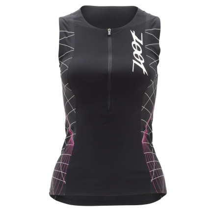 Fitness When you take a glance at the Zoot Ultra Tri Speed Women's Tank, you quickly realize that its name tells its story. Yes, it is a women's triathlon tank, and yes, it is designed for speed. To achieve the latter, Zoot incorporated its very best technology, fabrics, and fit capabilities. The end result' Speed over land and through the water. Starting with the bulk of the Ultra Tri Tanks's construction, Zoot used its venerable ULTRArevo with an HP Speed Finish. We'll break this title down into two categories, given that ULTRArevo is the fabric and HP Speed is the treatment. So, starting with the former, this material was implemented for its supportive knit structure. Featuring a compressive fiber weight and structured knit, ULTRArevo is supports the muscle groups without a feeling a constriction. Accordingly, by lessening the fatigue-inducing effects of road vibration and run impact, you're able to retain a higher threshold throughout the land legs of your race. Additionally, this fabric is highly breathable and it also efficiently manages moisture. As for the HP Speed Finish, this treatment places a priority on repelling water. So, in other words, it's engineered to be hydrophobic. In fact, it's developed on a fiber by fiber basis, where each yarn is isolated and a barrier is created around it. Accordingly, water is thoroughly repelled, increasing your speed and comfort through the water. And, just as importantly, this finish directly equates to a quick dry post-T1. Even better, when combined with the high-gauge construction of ULTRArevo, the material becomes resistant to both sand and pilling. In terms of fit, the Ultra Tri Speed was design with racing in mind. To achieve this, Zoot incorporated its proprietary stitching, SeamLink. This technique minimizes the stitch profile along the seams, providing a next-to-skin fit that nearly eliminates the risk of chafing and abrasion. - $124.95