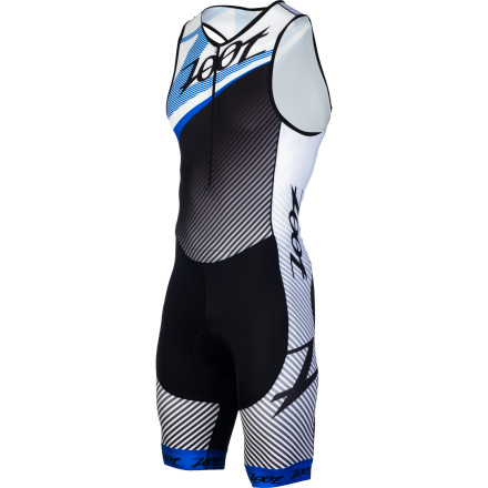 Fitness Race day calls for race gear, and in the world of Zoot, this equates to the Performance Tri Team Racesuit. It's easy to see why. With Italian fabrics, an anatomic race cut, and a fit that's nearly unparalleled, the Performance Team Racesuit is your ticket to comfort and speed over every leg of the race. For the Racesuit's construction, Zoot incorporated a sublimated and Italian-sourced fabric with a 200g blend of polyester and spandex. And at the inset, the Racesuit features a heavier, 207g blend of nylon and spandex. However, you're probably wondering where it ranks in comparison to the standard Performance Tri's Endura materials' Well, you'll find that the Team's fabrics place more of a focus on moisture management, comfort, and breathability than the supportive focus of the former. As a result, the Team's construction is slightly more flexible and far more effective at transferring moisture away from the skin. This means that your range of motion is narrowly increased, and your level of dry, cooling comfort is heightened. However, it's important to note that the Team Racesuit is still quite supportive. In fact, Zoot installed its BIOwrap spot gripper band at the leg cuffs to be sure of this. This material features a 240 denier spandex composition, meaning that it's quite strong at the fiber level, but still highly stretchable. As a result, the muscles surrounding the band are supported, and just as importantly, so is the fit. And in terms of fit, these Racesuit is cut, strictly, with racing in mind. To achieve this, Zoot incorporated a one-piece construction that's akin to a sleeveless skinsuit. However, the arm holes are formed in the fashion of Zoot's Tank jerseys, with the hem being inset towards the chest. This allows a complete range of motion for both the swim and the run, while still providing an anatomic coverage that won't bunch or pinch within the TT position. - $149.95