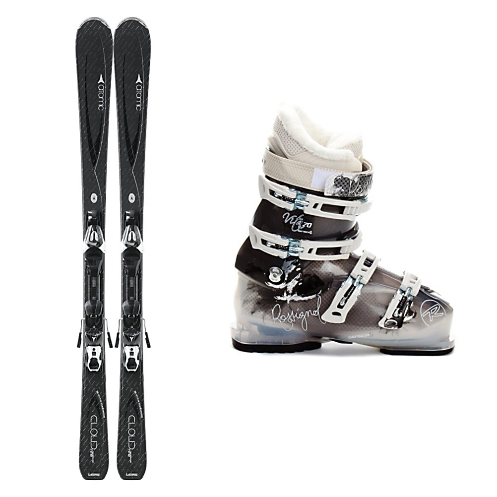 Ski Atomic Cloud 9 Womens Ski Package - When you're an intermediate skier you want a pair of ski and boots that will help you progress, keep you comfortable and show off your style then you'll want the Atomic Cloud Nine Ski Package. The Atomic Cloud Nine Skis are made with a slightly rockered tip which will help you engage turns quicker, easier, and more efficiently. It will also help you keep a smoother ride on the groomers if they start to get a little cruddy or bumpy by absorbing the negative vibrations. The Cap Fiber Construction is very lightweight and forgiving so you can spend more energy having fun and enjoying your time on the slopes rather than working harder to get your skis to turn. The Rossignol Vita Sensor 2 70 Boots are made for comfort and functionality. The Women's Sensor Shell has been designed with F.I.T. which addresses women's unique fit issues that include narrower heels, smaller forefoot shapes, and lower cuffs to accommodate a lower, fuller calf. There's a quilted goose down toe box on the liner for added warmth so your toes remain cozy all day long. If you like the blue squares and know how to cruise on the mountain then the stylish and fun Atomic Cloud Nine Ski Package is the one for you. . Tip/Waist/Tail Widths: 127/74/104mm (@ 156cm), Actual Turn Radius @ Specified Length: 11m (@ 156cm), Actual Flex: 70, Type: Frontside Skis ( - $629.95