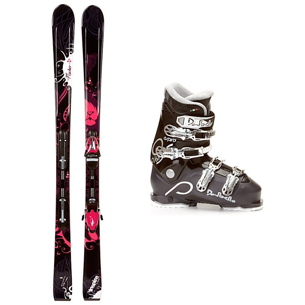 Ski Fischer Inspire RF My Style Womens Ski Package - If you like skiing the groomers and want a new pair of skis to show off your style while keeping you comfortable then you'll want to check out the Fischer Inspire RF My Style Ski Package. The Fischer Inspire RF My Style Skis boast an Air Power Construction making these skis light and easy to handle offering you more control and confidence. The Carbon Tech has carbon fibers lined throughout the construction of the ski to give it some torsional strength and a balanced flex at the same time. The Tip Rocker helps you initiate a turn quicker and easier as well as absorb negative vibrations that are caused by bumps and crud. The Dalbello Aspire 65 Boots have a Low Contour Cuff Profile that accommodates the shorter, fuller female leg shape and the Supercomfort Liner is very thick, plush, and warm so you'll have the most comfortable feet on the mountain. The Bi-Injected Easy Entry Overlap bonds two different polymers into one structure. The softer plastic over the instep makes the boots flex very softly, and make it very easy for you to enter and exit. The stiffer plastic surrounds the rest of the boot with a harder plastic frame for steering and control. If you're a mellow skier who loves the frontside of the mountain and smiles at the groomed trails in the morning then you'll want the stylish and fun Fischer Inspire RF My Style Ski Package. . Tip/Waist/Tail Widths: 116/73/102mm (@ 155cm), Actual Turn Radius @ Specified Length: 15m (@ 155cm), Actual Flex: 65, Type: Frontside Skis ( - $399.95