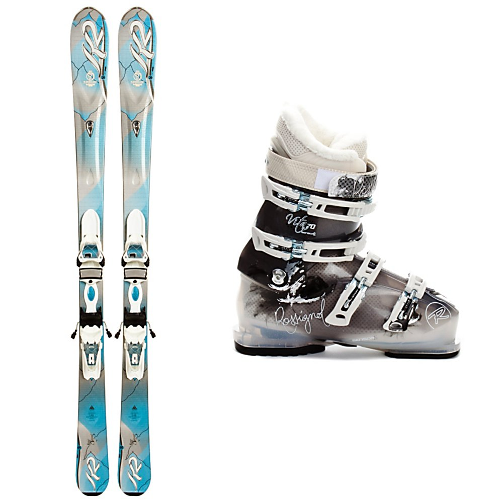 Ski K2 SuperSweet Womens Ski Package - The K2 SuperSweet Ski Package is designed for the athletic beginner, mellow intermediate, or the teenage girl who is ready for her first adult ski. The K2 SuperSweet Skis have a Catch Free Rocker that will help you initiate a turn quicker and release you out of a turn easier so you will be growing in both skill and confidence quickly. K2s Mod Monic Dampening keeps your ski feeling smooth and chatter free. A cap construction and composite core were made for the relaxed skier who doesn't have to put a lot of force or energy into the ski to make it respond. The K2/Marker ER3 binding system adds some lift to your stance to give you more leverage on top of the ski to roll them on edge even easier. The Rossignol Vita Sensor 2 70 Boots are made for comfort and functionality. The Women's Sensor Shell has been designed with F.I.T. which addresses women's unique fit issues that include narrower heels, smaller forefoot shapes, and lower cuffs to accommodate a lower, fuller calf. There's a quilted goose down toe box on the liner for added warmth so your toes remain cozy all day long. Super cute and lots of fun, you'll feel right at home in this K2 SuperSweet Ski Package. . Tip/Waist/Tail Widths: 118/74/103mm (@ 153cm), Actual Turn Radius @ Specified Length: 14m (@ 160cm), Actual Flex: 70, Type: Frontside Skis ( - $539.95