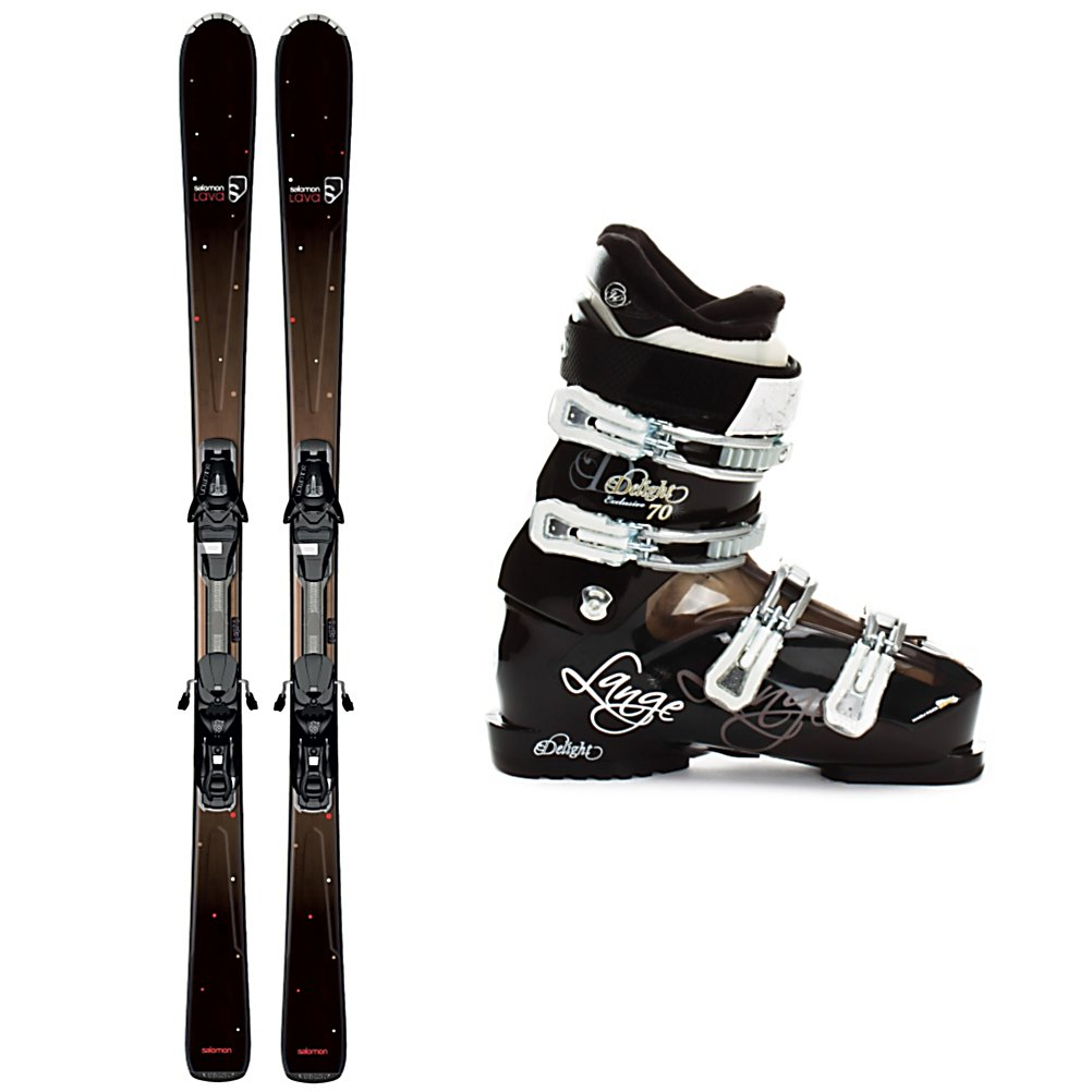 Ski Salomon Origins Lava Womens Ski Package - The Salomon Origins Lava Ski Package is great for any intermediate to advanced skier that plans to spend the day on the frontside of the mountain carving through the groomers and hard pack. The Salomon Origins Lava Skis have an All Terrain Rocker which has tip rocker and camber underfoot so you will be able engage the ski quicker on the groomers and deflect some of the negative vibrations that are caused by crud and small moguls. The Pulse Pad Dampening System has elastomer layers over the edge for shock absorption for smoother ski to snow contact. The Lightrak L9 binding system gives the Lava a nice even flex that makes energy transmission smooth and easy. The Exclusive Delight 70 Boots have a Control Fit liner for good cushioning and comfort with a goose down liner making it extremely warm and cozy. It has a roomy toe box with a firm heel hold that balances comfort with a responsive feel. A sharp looking ski and boot combo combined with comfort and functionality makes the Salomon Origins Lava Ski Package a great buy that you'll love to use year-after-year. . Tip/Waist/Tail Widths: 123/74/103mm (@ 159cm), Actual Turn Radius @ Specified Length: 12.4m (@ 159cm), Actual Flex: 70, Type: Frontside Skis ( - $494.95
