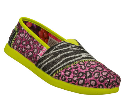 She'll capture some attention wearing the SKECHERS Bobs World III - Sparkle Safari shoe.  Soft canvas fabric upper in a wild animal glitter finish print slip on casual alpargata flat with stitching and overlay accents. - $36.00