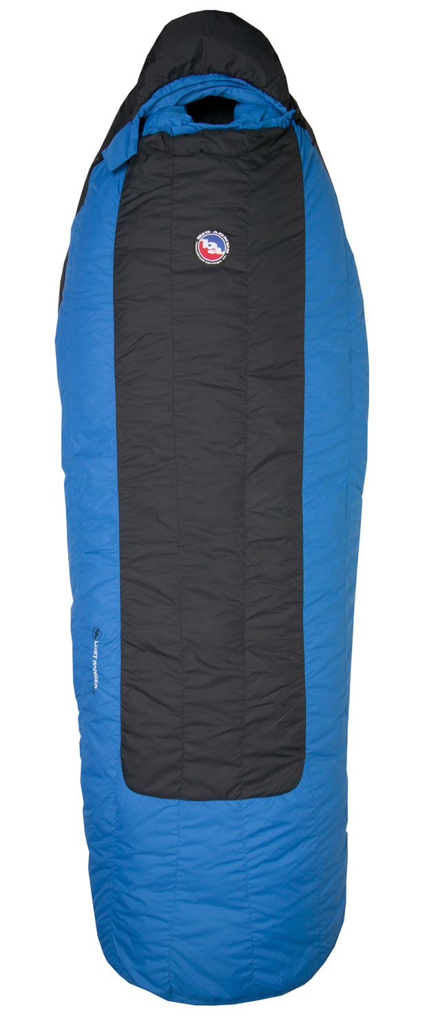"Entertainment Classic Series Down bags o?er warmth, compressibility and big comfort. These Big Agnes System bags are now available with DownTek water repellent down- perfect for the weight conscious backpacker who wants a little more room and has admitted that even the weatherman can't know it all. Utilizing our full pad sleeve design, you can slip any 20"" rectangular pad into your bag to keeping you in place all night long.Key Features of the Big Agnes Lost Ranger 15 Regular Right Sleeping Bag Black/Blue: Integrated full pad sleeve. Never roll off your pad again DownTek water repellent down insulation Rectangular shape offers more room in foot box and shoulders Mesh storage sack & nylon stuff sack included Built in pillow pocket holds a fleece or Big Agnes pillow Interior fabric loops for sleeping bag liners 70"" YKK #8 zipper. Mate together our left and right zip bags with same size zipper No-draft collar seals around neck to keep cold air from sneaking in No-draft wedge insulates the connection between the bag and pad No-draft zipper tube insulates along the length of the zipper Shell fabric: Down proof, nylon microfiber rip-stop. WR surface treatment to repel water Lining: Soft and breathable, down proof nylon microfiber with stain resistant finish Pad sleeve fabric: Nylon rip-stop. WR surface treatment to repel water Flow Construction: Insotect Flow is a flow-optimized insulation system that delivers uniform heat distribution and natural body contouring through its revolutionary baffle design. Flow Construction eliminates lateral and vertical down shifting by using vertical chambers with Flow Gates to regulate fill positioning and density. Strategically placed Flow Gates minimize vertical down shifting while vertical chambers minimize lateral shifting. With continuous vertical Flow chambers in place of traditional side seams, Flow bags eliminate potential cold spots which can occur with side seams. Vertical baffles now flow with your body for more rapid and uniform body heat distribution. LEFT OR RIGHT ZIPPER? When you are in the bag, on your back, the right zip will be on your right side, left zip on your left side - $180.95"