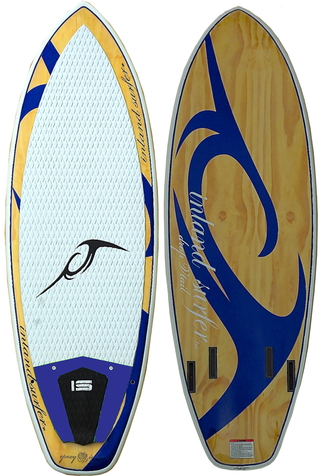 "Surf There are more Blue Lakes out there in the world for a reason. After 12 years it is the most fundamental wake surfboard for making summers awesome. In its twin configuration it is easy to develop and grow on. As a quad you can leverage the Vortex Channel and Drop V tail to bring your riding to the next level. Capable of large aerials, surface spins and giant bottom turns the Blue Lake is the most accomplished model ever.Key Features of the Inland Surfer Blue Lake V2 Wakesurfer 5ft 4in: Epoxy Infused Technology - our top secret way of fully soaking the fiberglass with epoxy to create the strongest bond. WoodLoc - our process that inserts laminated layers of wood into the board top and bottom platform to increase strength, rigidity, stiffness and overall performance. Vortex Channel - A concave channel near the front of the board that helps speed up water flow and injects air under the bottom of the board, producing faster speeds and avoids pearling (nose diving). Progressive Edge - The rail geometry and construction that holds the board close to the wake without creating unwanted drag. Fin options - number of fin options available. Rear Kick - EVA traction with raised rear kick pad for incredible foot hold. ROCKET Rocker - This profile has been designed to provide the absolute maximum down-the-line speed without sacrificing edge to edge performance. Drop ""V"" tail - A channel near the tail of the board that provides maximum release of water tension from under the board. Ability Level: The ability level recommendation for this board is beginner to advanced. Weight Range: The weight range recommendation for this board is 100lbs. to 250+lbs. depending on wake size. Specs: 5'4"" x 20.5"" x 1.75"" - 8 lbs. Quad fin option. Note: All surf style boards come with 1 pair of standard 9cm surf fins only. - $699.00"