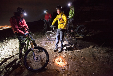 MTB Descending By Moonlight.  Utah's Skyline Trail offers views of the Great Salt Lake, and the opportunity to descend in the dark.  Article by Leslie Kehmeier