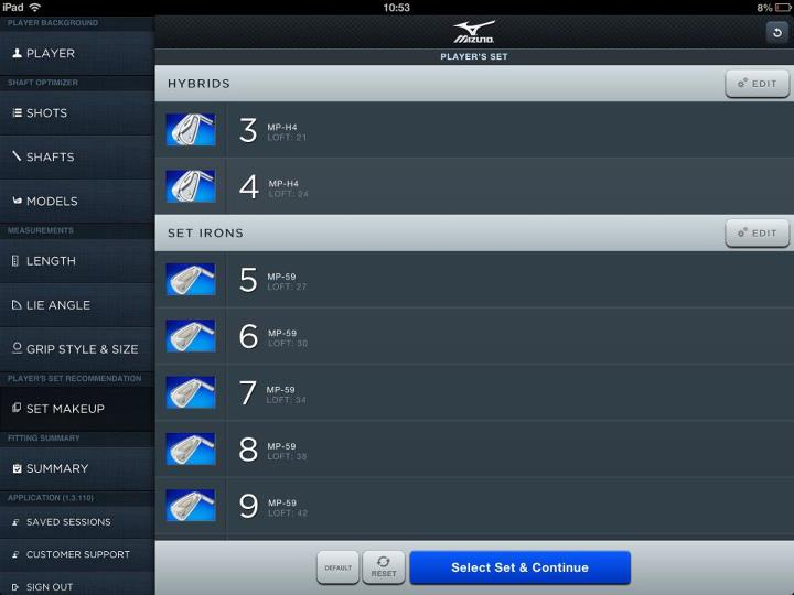 Golf RETAILER ALERT:  Mizuno's Swing DNA Software is now available for our custom fitting network to download on ipad.  The App now includes set make up - splitting the correct balance of long irons, hybrids and wedges.