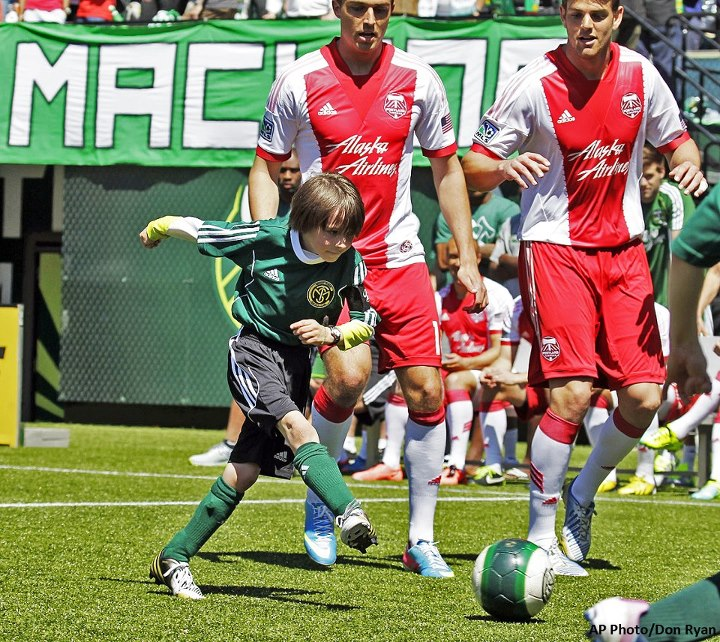 Sports Why We Love Sports Today: An 8-year-old's wish granted.   Atticus Lane-Dupre, who is being treated for cancer, scored the winning goal in his team's scrimmage against the Portland Timbers: http://bit.ly/132OlT0.