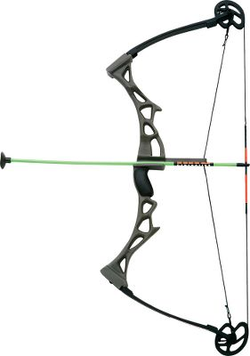 "Teach your children both safety and marksmanship with this fun shooting toy. The Compound Bow functions like the real thing and comes with 3 suction cup-tipped arrows and a window cling target. 23"" long. Type: Shooting Toys Compound Bow. - $9.94"