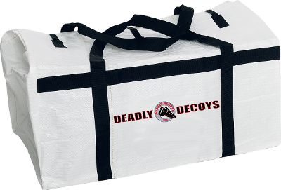 Transport, set and store your entire spread of Deadly Decoys windsocks with ease. Sturdy plastic mesh construction with a shoulder strap and two handles for easy transportation. Wide-opening flaps for easy loading. Holds 150 headless decoys with BackBone supports or 50 fully assembled windsock decoys. Imported. 35L x 20W x 21H. Size: REGULAR. - $59.99