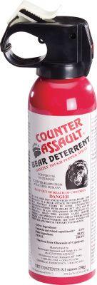 Hunting Be prepared for unexpected guests crossing your path with the Counter Assault 8.1-oz. Bear Deterrent with Holster. EPA registered in all 50 states, its the only bear deterrent that meets or exceeds recommendations by the Interagency Grizzly Bear Committee. Spray uses an atomized fogger blast for maximum coverage and slow dissipation. Formula with 2% capsaicin and related capsaicinoids provides ample potency to trigger the involuntary eye closure and intense burning that stop bears in their tracks and causes them to retreat. Deterrent has a 7.2-second continuous spray time that is effective up to 30 feet. Includes tie string that attaches to a glow-in-the-dark safety wedge. Belt holster included for at-the-ready storage. Four-year shelf life. Recipient of IGBCs Grizzly Bear Stewardship Award. - $44.99